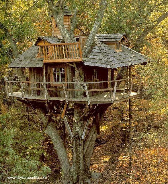 Versión de casa del árbol rústica y con irregularidades en los ángulos