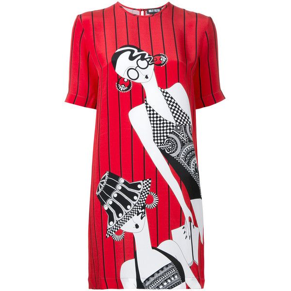 Holly Fulton Ladies T-shirt Dress ($645) ❤ liked on Polyvore featuring dresses, t-shirt dresses, t shirt dress, red t shirt dress, silk dress and tee dress