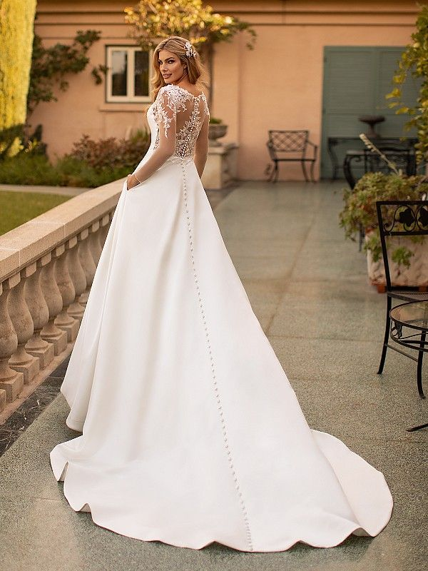 Moonlight Collection J6792 Bridal Gown With Illusion Back And Sleeves In 2020 Modest Bridal Gowns Wedding Dress Long Sleeve Moonlight Bridal