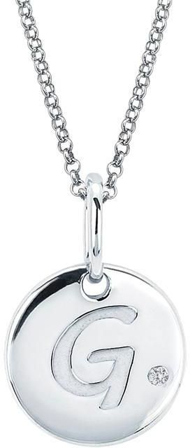 Boston Bay Diamonds Little Diva Diamonds Sterling Silver Diamond Accent Disc G Initial Pendant