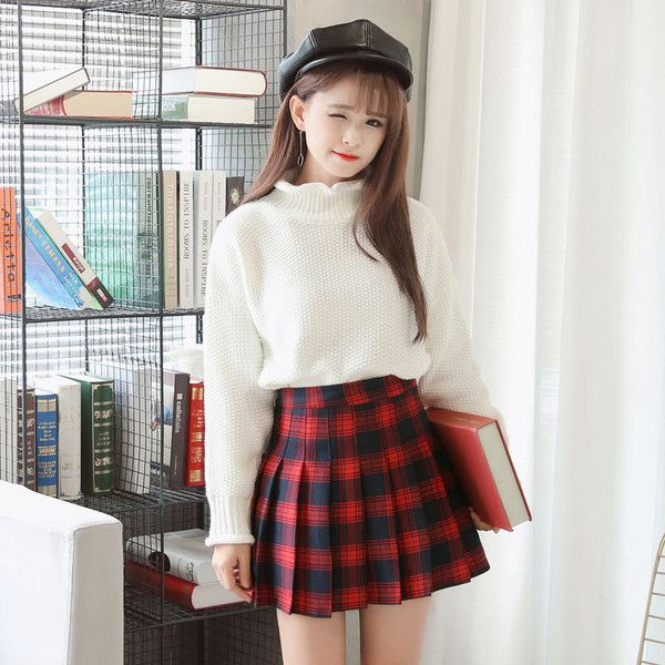 Plaid Pleated Skirt ($18) ❤ liked on Polyvore featuring skirts, plaid pleated skirts, tartan skirts, pleated skirt, white plaid skirt and tartan plaid skirt