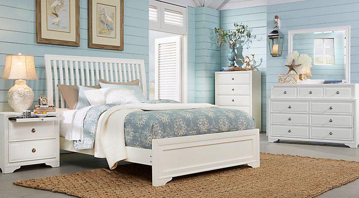 Belcourt White 5 Pc Queen Slat Bedroom