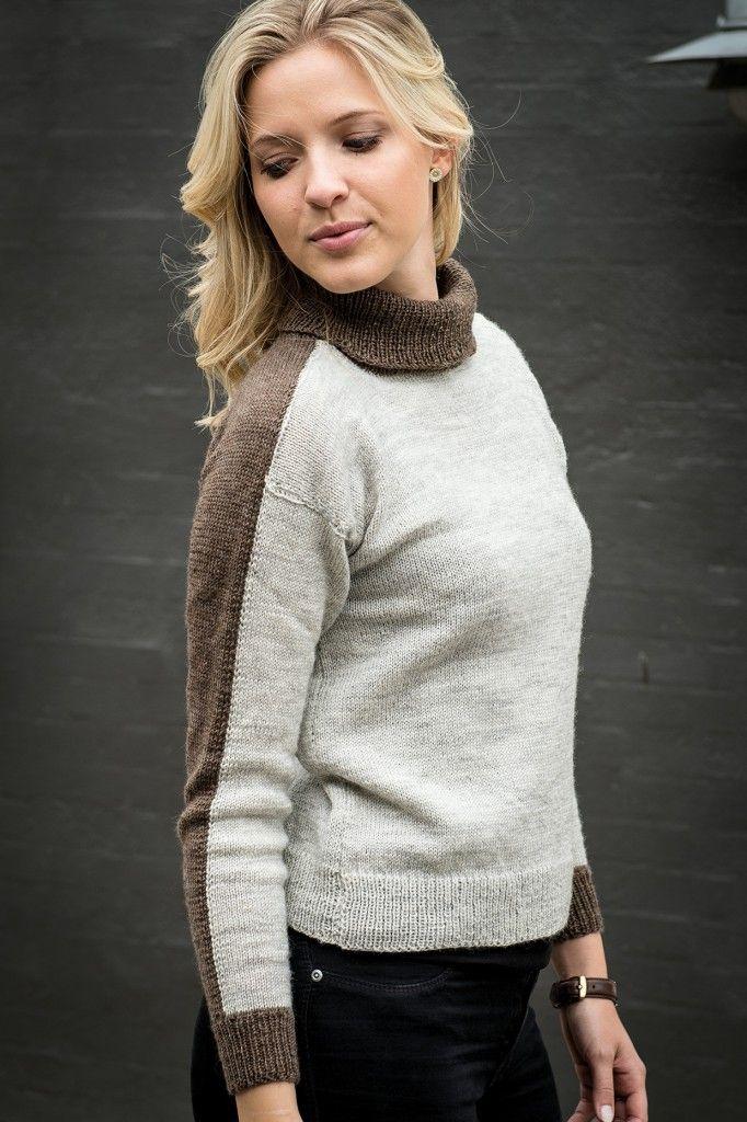 1507: Tofarvet sweater med rullekrave i Mayflower 1 class. Fra Efterår/Vinter kollektion 2016. Mayflower 1 class. [Strikkeopskrift, Garn, Pattern, Knitting, Autumn/Winter 2016]