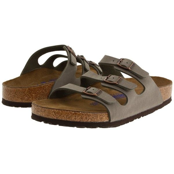 Birkenstock Florida Soft Footbed - Birkibuc Women's Sandals ($100) ❤ liked on Polyvore featuring shoes, sandals, stone birkibuc, strappy shoes, strap shoes, strap sandals, holiday shoes and birkenstock shoes