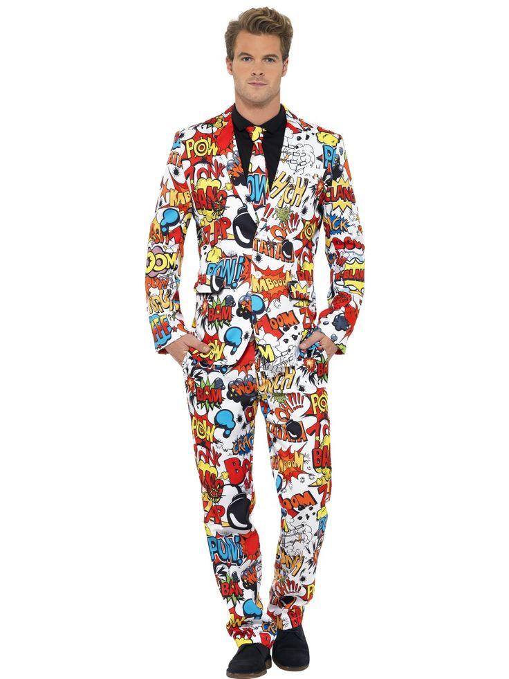 Miesten puku, sarjakuvateema. Ja tässä puvussa, kuten kuosikin paljastaa, olet varmasti tilaisuuden värikkäin tyyppi. Miesten puku on kuvioitu sarjakuvateemalla ja kuosi on värikkään kirjava. Tällä asulla todistat, ettei pukuun pukeutuminen ole tylsä vaihtoehto!