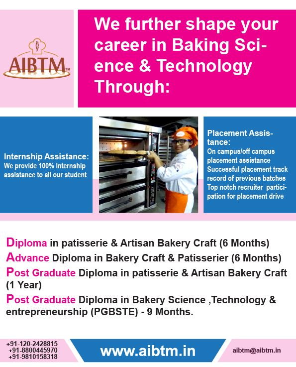 Become a Certified Baker by joining #Diploma #PGDiploma