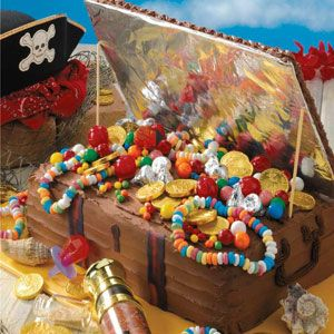Treasure Chest Birthday Cake Recipe -Swashbucklers of all ages were eager to seize a chocolaty piece of this birthday cake, although some guests thought it was too cute to cut! Folks were impressed with this edible pirate's treasure chest and loved the rich chocolate icing. —Sharon Hanson, Franklin, Tennessee