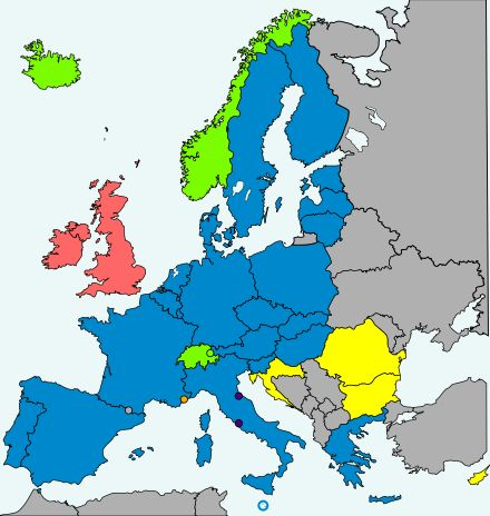 Schengen Area: Twenty-two of the twenty-eight European Union (EU) member states participate in the Schengen Area. The remainders: Bulgaria, Croatia, Cyprus and Romania are legally obliged and wish to join the area, while Ireland and the United Kingdom maintain opt-outs.