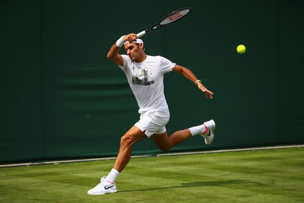 """""""Roger Federer during a practice session at The Championships Wimbledon, 2017. """""""