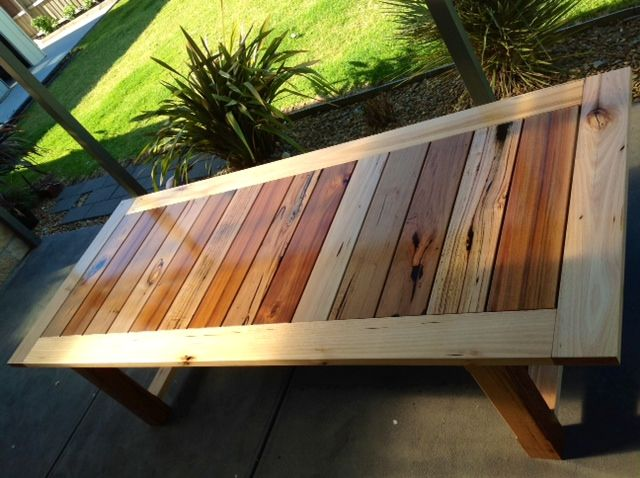 Recycled mixed Hardwood timber outdoor table