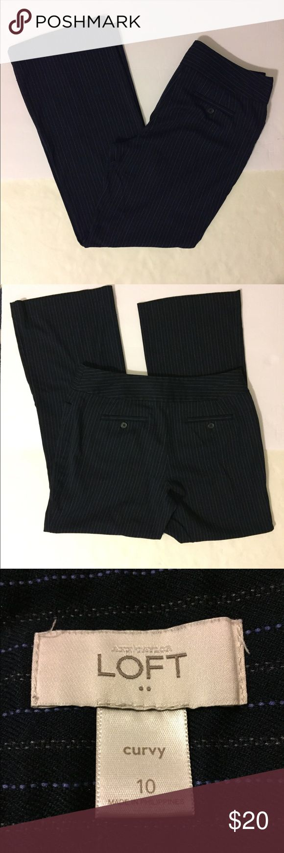 """LOFT Curvy Career Pants Nice wide-leg Ann Taylor Loft Career Pants.  Navy with purple and gray pinstripes.  The last pic shows the stripe details.  Great pre-owned condition.  No snags, holes or stains.  Size 10.  31"""" inseam.  10 1/2"""" leg opening. LOFT Pants Wide Leg"""