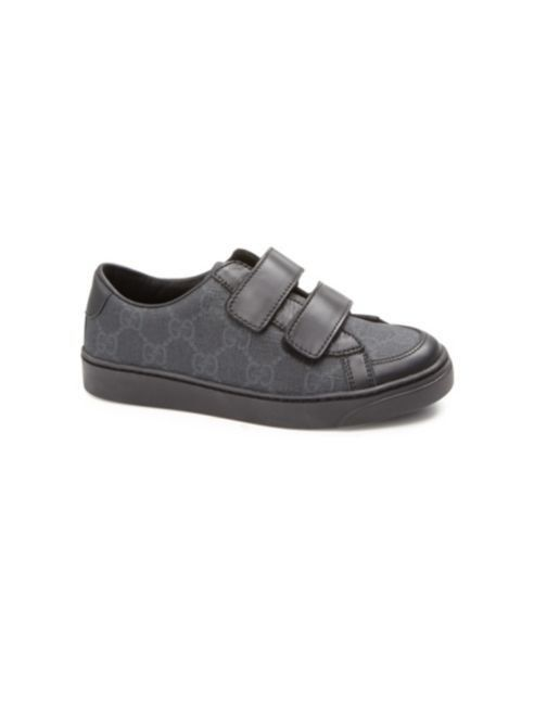 ac5a1575517 Gucci Kid s GG Supreme Leather-Trim Sneakers- Size 1 (32) Black   Gray   Gucci  FashionSneakers
