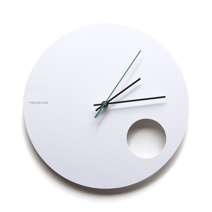 Hole wall clock - modern white powder coated steel finish with a touch of turquoise