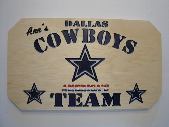 Dallas Cowboys Personalized Custom Carved Sign, NFL Football, Sports, Professional Football, America's Team, home decore, wall art, man cave