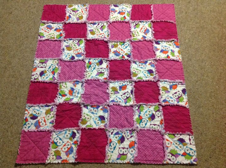 Pink owl rag quilt for an identical twin girl