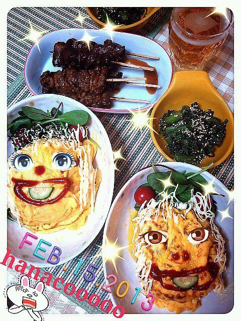 ぷは!顔に見えるかな?www炊飯器でオムライス。パプリカ、ウインナー、玉ねぎ、mixデジタブルと塩、鶏ガラスープいれてスイッチオン! - 86件のもぐもぐ - オムライスと春菊の胡麻和え by 華ちゃん