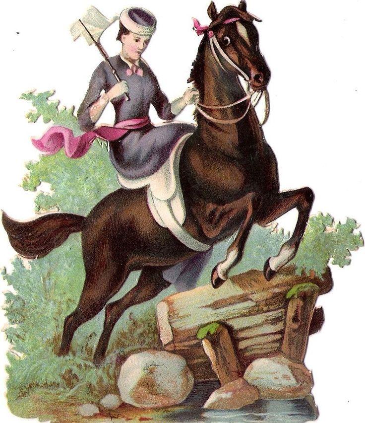 Oblaten Glanzbild scrap die cut chromo Lady Dame femme Pferd cheval reiten horse