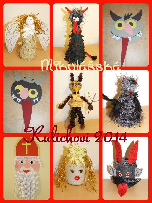 Naše mikulášské tvoření do školky 2014 (čerti, andělé, Mikuláš).  Our creation to nursery 2014 (devils, angels, St. Nicholas)