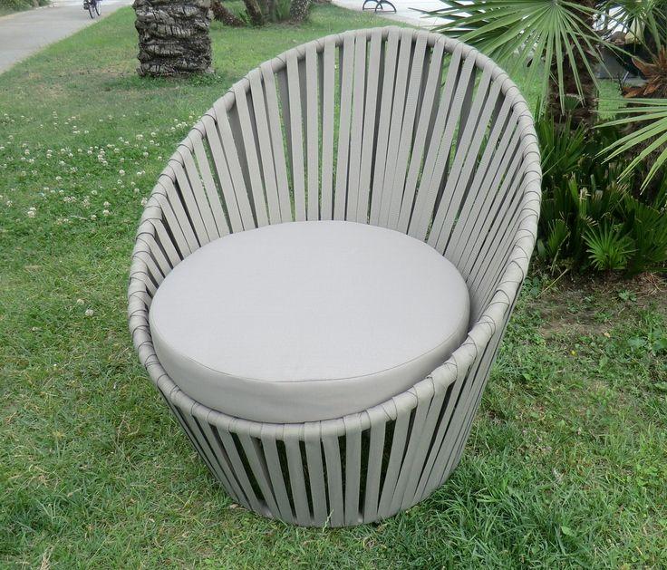 poltrona da giardino arredo giardino in corda acrilica struttura in alluminio modello GOLF