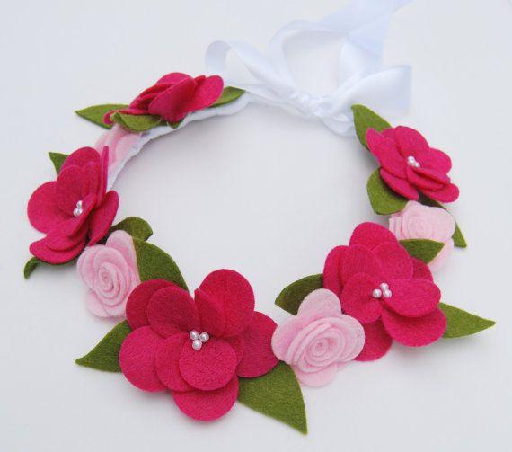 Flower Crown Hair Wreath Headband - Felt Flowers - Pink Roses & Magnolias