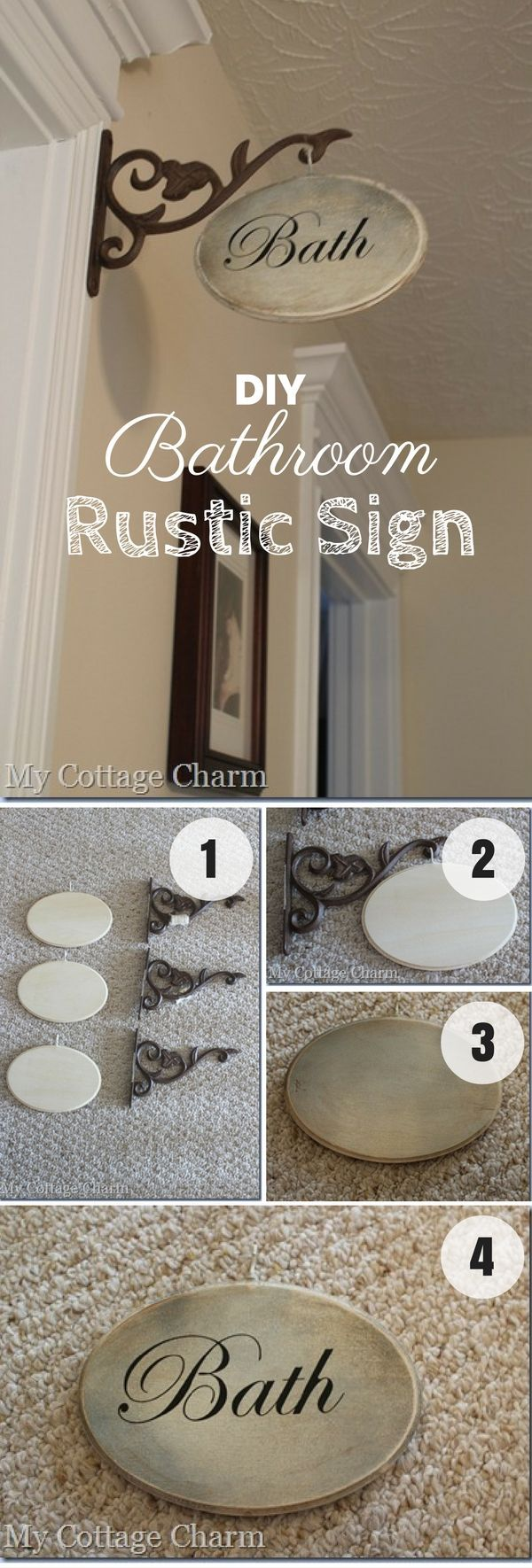 Check out this easy idea on how to make a #DIY #rustic bathroom sign #homedecor #budget #crafts @istandarddesign