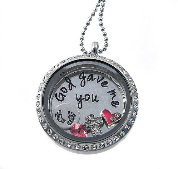 God gave me you  / Mommy Necklace  / Floating by silverimpressions, $44.00