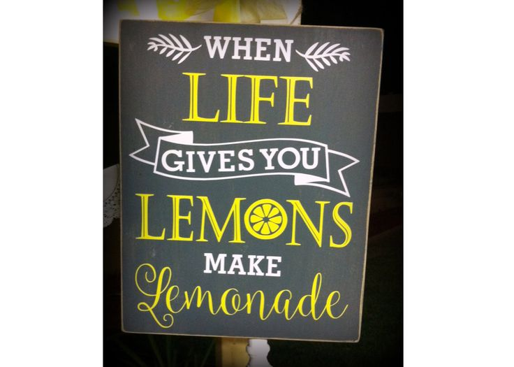 When Life Gives You Lemons Sign, Lemonade Sign, Lemons, Wood Sign, Home Decor, Gray and Yellow Decor, Vintage, Lemonade Stand, Vinyl Sign by WellofWords on Etsy