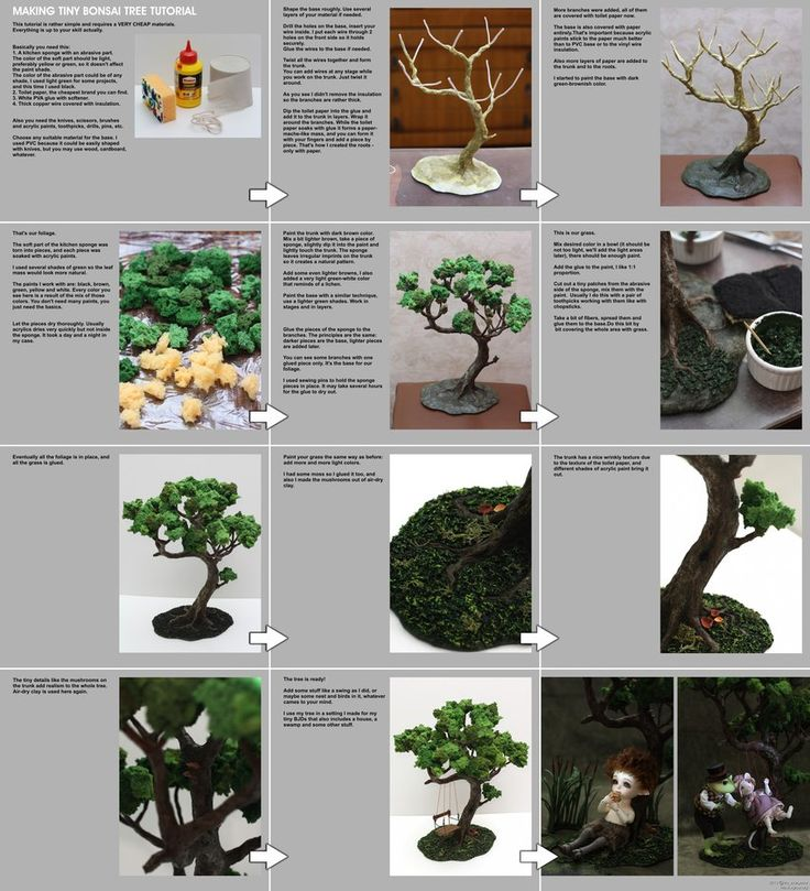 Making tiny bonsai tree tutorial by scargeear on deviantART (This is made with wire, cheap-ass toilet paper, glue, paint, and a sponge. A freaking. Sponge. I love it.)
