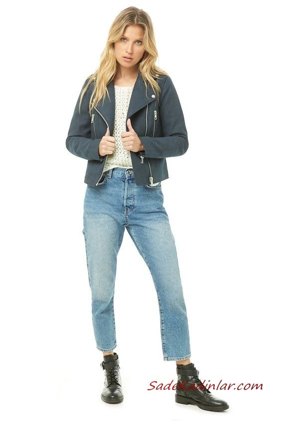 Bayan Pantolon Ceket Kombinleri Mavi Mom Jeans Krem Kazak Lacivert Kisa Nubuk Ceket Siyah Bagcikli Deri Bot Deri Bot Moda Pantolon