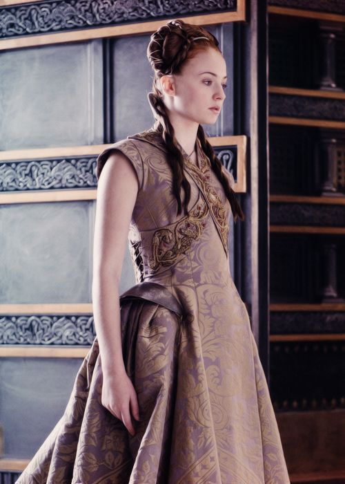 "Wedding gown costume worn by Sophie Turner playing Sansa Stark in ""Game of Thrones."" Season 3, episode 8, ""Second Sons."" Screen capture."