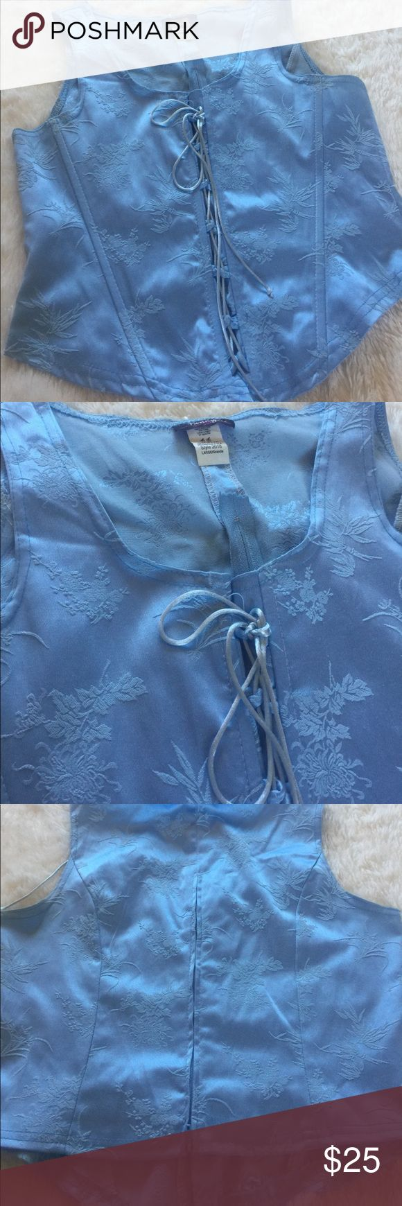 Corset blouse Back zip, fitted like a corset, front lace. Perfect under jacket or outer blouse. fanny Tops Camisoles
