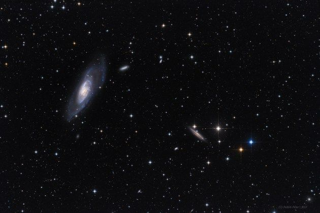 A View Toward M106 http://ift.tt/2tTzEpT July 07 2017 at 02:45AM  A View Toward M106 http://ift.tt/2tXyyuf July 07 2017 Big bright beautiful spiral Messier 106 dominates this cosmic vista. The two degree wide telescopic field of view looks toward the well-trained constellation Canes Venatici near the handle of the Big Dipper. Also known as NGC 4258 M106 is about 80000 light-years across and 23.5 million light-years away the largest member of the Canes II galaxy group. For a far away galaxy…