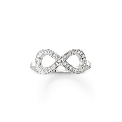 THOMAS SABO Ring from the Sterling Silver Collection. Ring - 925 Sterling silver - White zirconia-pavé Width: ca. 0.8 cm The filigree, with white pavé zirconia-embellished infinity symbol of the THE ETERNITY OF LOVE ring delicately envelops its wearer's finger, radiating for all eternity.