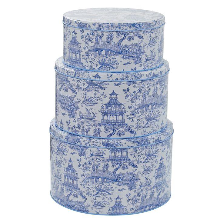 """Williamsburg"" Set of Three Blue & White Printed Cake Storage Tins - TK Maxx"