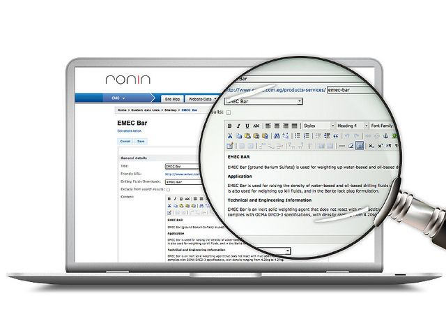 RONIN's easy-to-use content management system