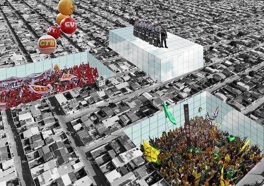 """Arte e Arquitetura: """"Superstudio Revisitado"""" por Nitsche Arquitetos + Jorn Konijn,Fotomontagem © Nitsche Arquitetura"""
