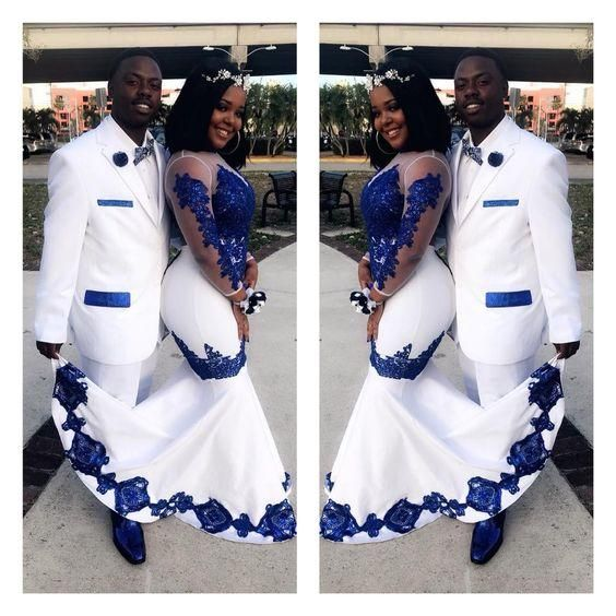 New White Satin Royal Blue Lace Aso Ebi African Prom