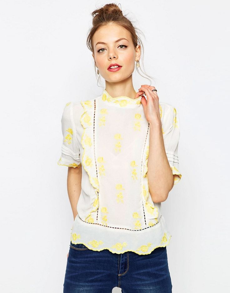 Image 1 ofASOS Pretty Embroidered High Neck Blouse