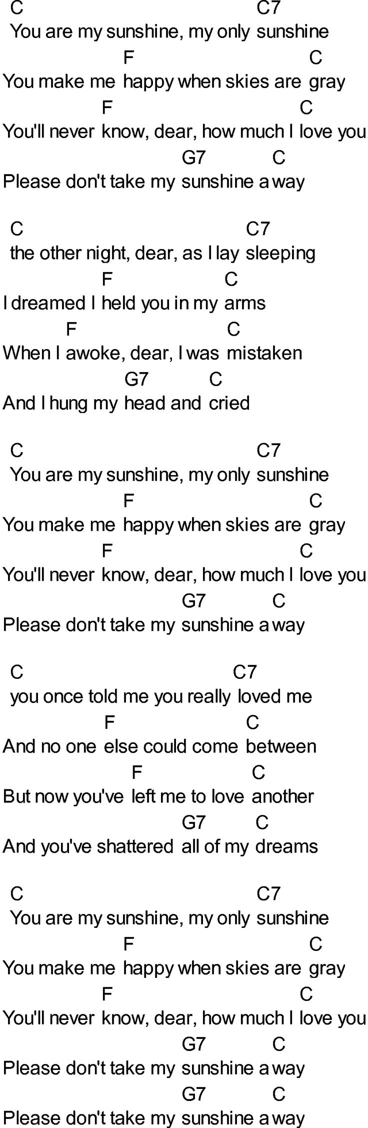 Bluegrass songs with chords - You Are My Sunshine