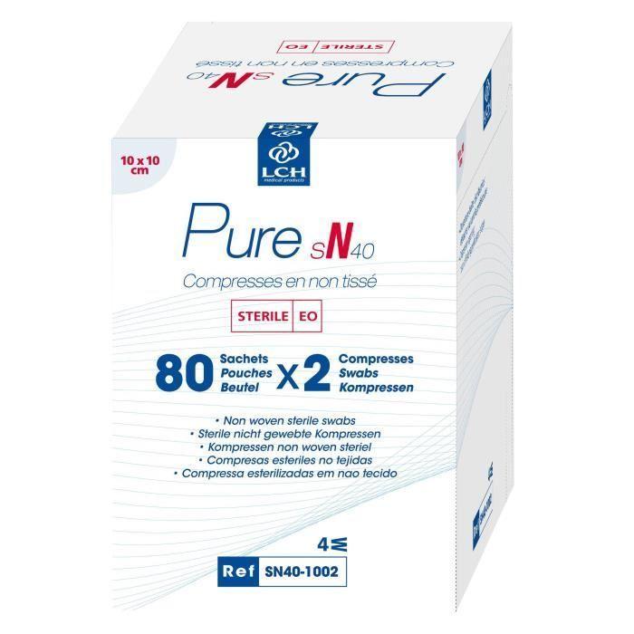 Lot De 12 Boites De 160 Compresses Pure Non Tisse Sterile 40g