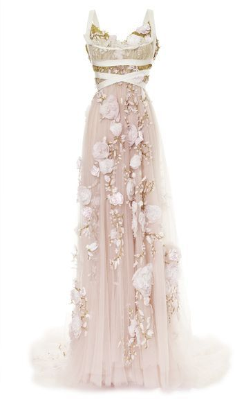Marchesa 3d Silk Ribbon Rose Empire Waist Gown #wedding #dress                                                                                                                                                                                 More
