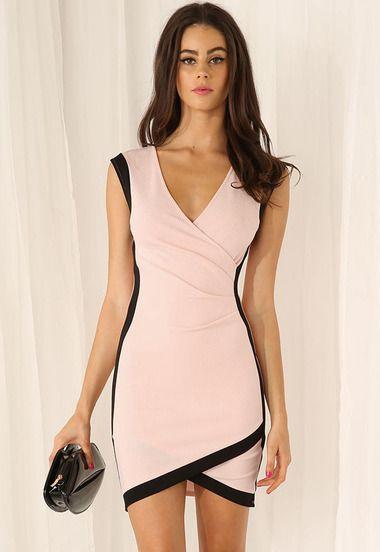 Vestido Bodycon sin mangas-rosado