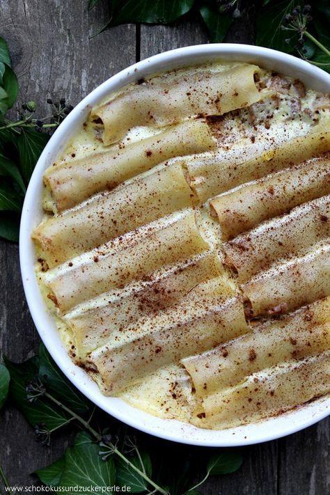 """Ein leckeres Rezept für süße Nudeln: Cannelloni mit Apfel-Zimt-Füllung aus dem Buch """"Mia liebt Pasta"""" von Bloggerin Mirja Hoechst."""