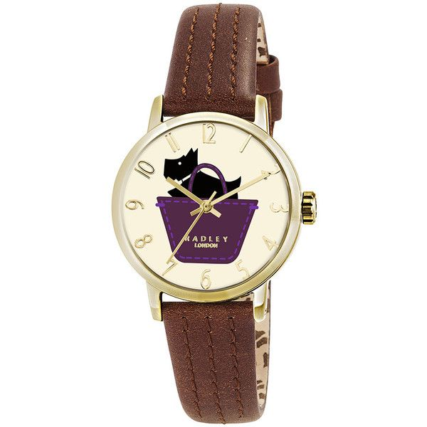 Radley Border Watch with Printed Face - Brown ($100) ❤ liked on Polyvore featuring jewelry, watches, brown, water resistant watches, radley, brown jewelry, dog jewelry and brown wrist watch