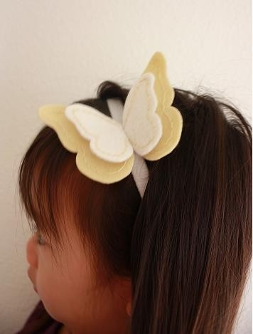 NYLON HEADBAND Yellow felt butterfly on a white by lilchatterbox, $12.00