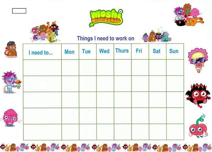 Reward Chart Template For Kids | Kiddo Shelter