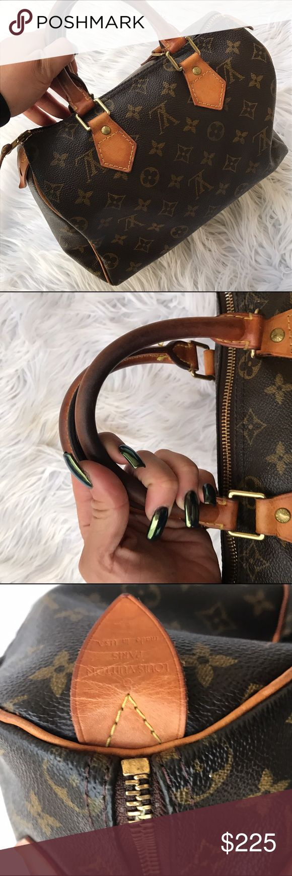 "LOUIS VUITTON SPEEDY BAG PURSE ALL LEATHER 100% authentic Louis speedy measures as follows 11"" wide 9"" long 12"" long with strap drop included ❤️ Louis Vuitton Bags"
