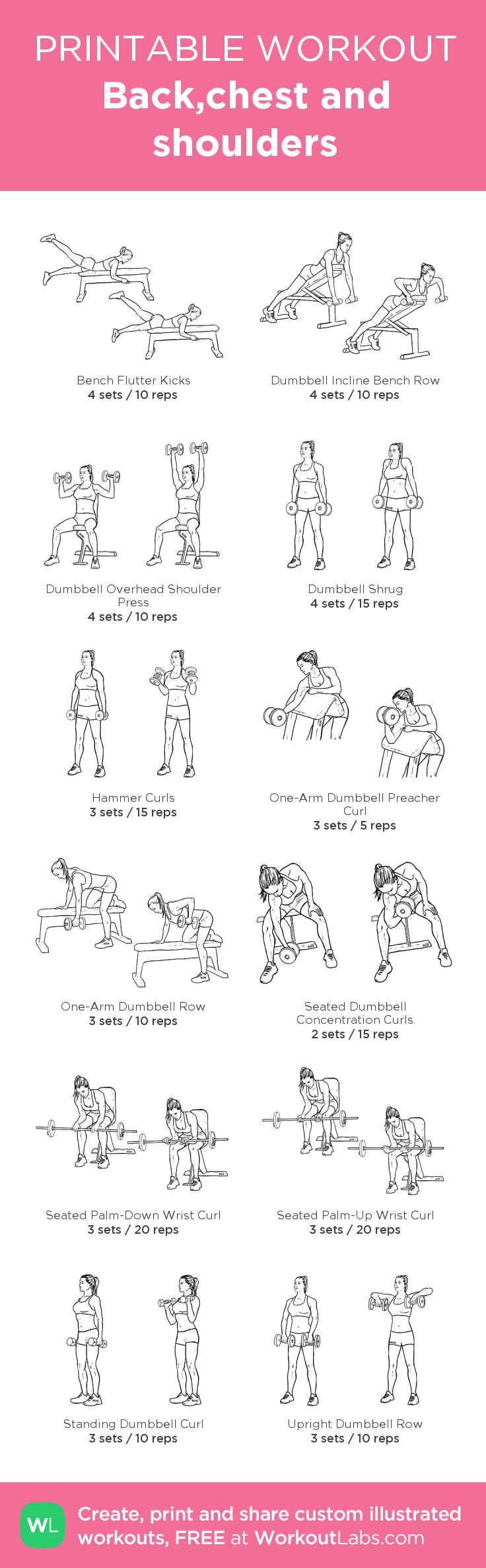 Back,chest and shoulders:my visual workout created at WorkoutLabs.com • Click through to customize and download as a FREE PDF! #customworkout