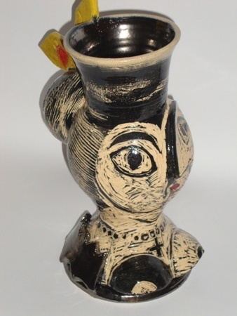 Michaela Kloeckner     Woman in Black and White with a Splash - 2011/2012     Wheel thrown + assembled low fired ceramic     29 x 18 cm