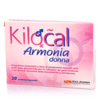 Kilocal Armonia Donna è un integratore alimentare a base di componenti naturali, utile nelle diete ipocaloriche per la riduzione del peso corporeo e nei disturbi femminili della dismenorrea e menopausa.